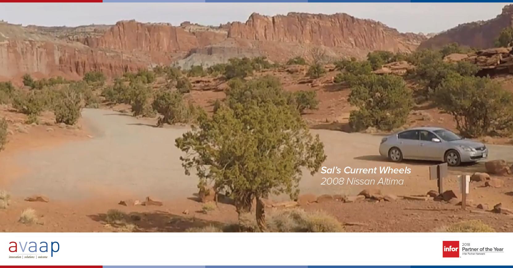 Car in desert analytics